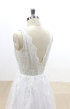 V-Cut shape Back Tulle Lace Appliques A Line Open Back Beach Wedding Dresses