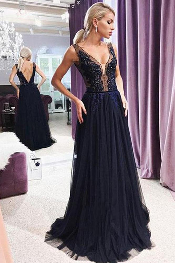 Modest A Line V Neck Open Back Navy Blue Lace Long Prom Dresses with Beading