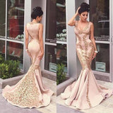 Lace Applique Mermaid Long Gold V-Neck Ruffles Sexy Straps Evening Dresses Party Dresses