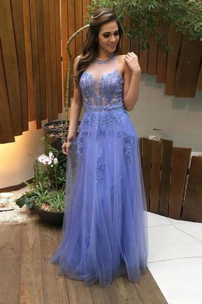 Tulle lace see-through open back sexy A-line long prom dresses evening