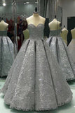Sweetheart Gray Sleeveless Long Sequins Strapless Ball Gown Shiny Winter Prom Dresses
