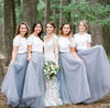 Short Sleeve White Top Light Grey Tulle Skirt Popular Floor-Length Bridesmaid Dresses