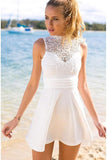Short Open Back White Appliques Short Stretch Satin Homecoming Dress with Lace
