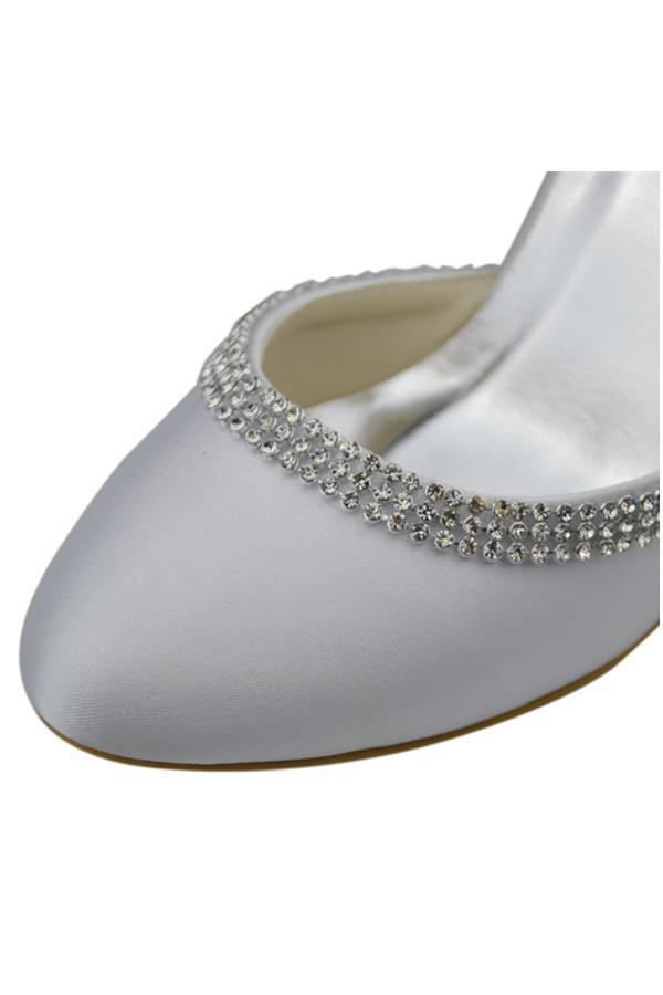 Ankle Strap Beading High Heel White Comfy Satin Shoes
