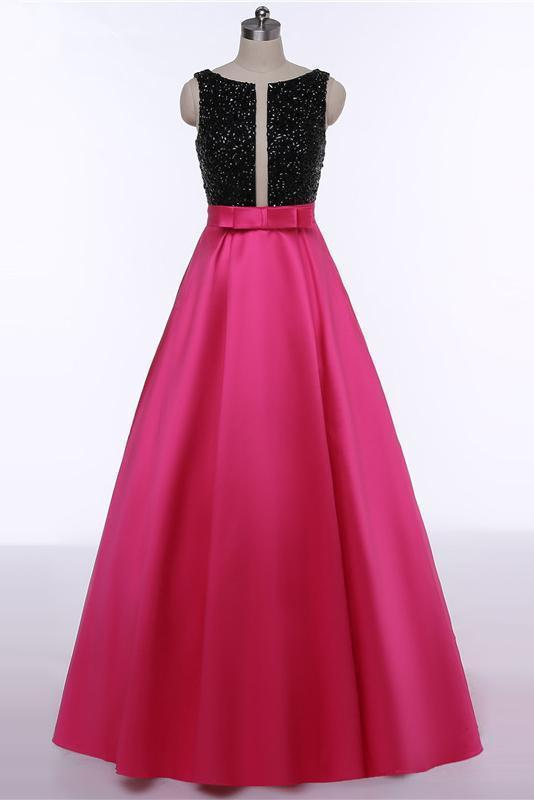 Red Open Back Beads Bowknot with Pockets Round Neck Sleeveless Prom Dresses