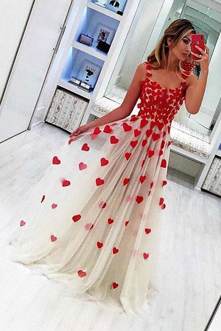 Stylish A Line Tulle Sweetheart Spaghetti Straps Red Flowers Sleeveless Prom Dress