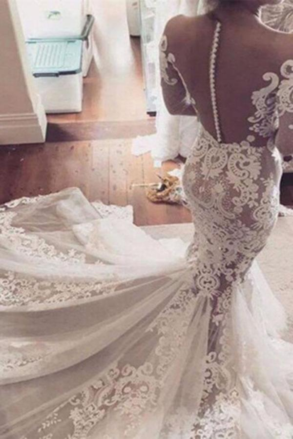 Illusion Neckline Lace Appliques Mermaid Long Sleeves Court Train Ivory Wedding Dresses