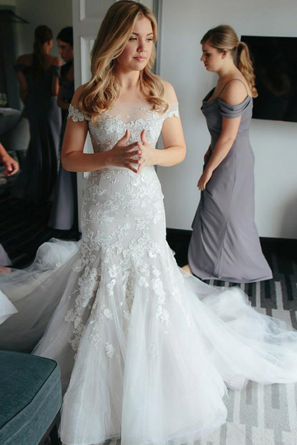 Sheath Off the Shoulder Court Train Ivory Tulle Wedding Dresses with Lace Appliques