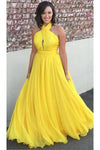 Princess Chiffon A-line Halter Long Yellow Backless Sleeveless Prom Dresses
