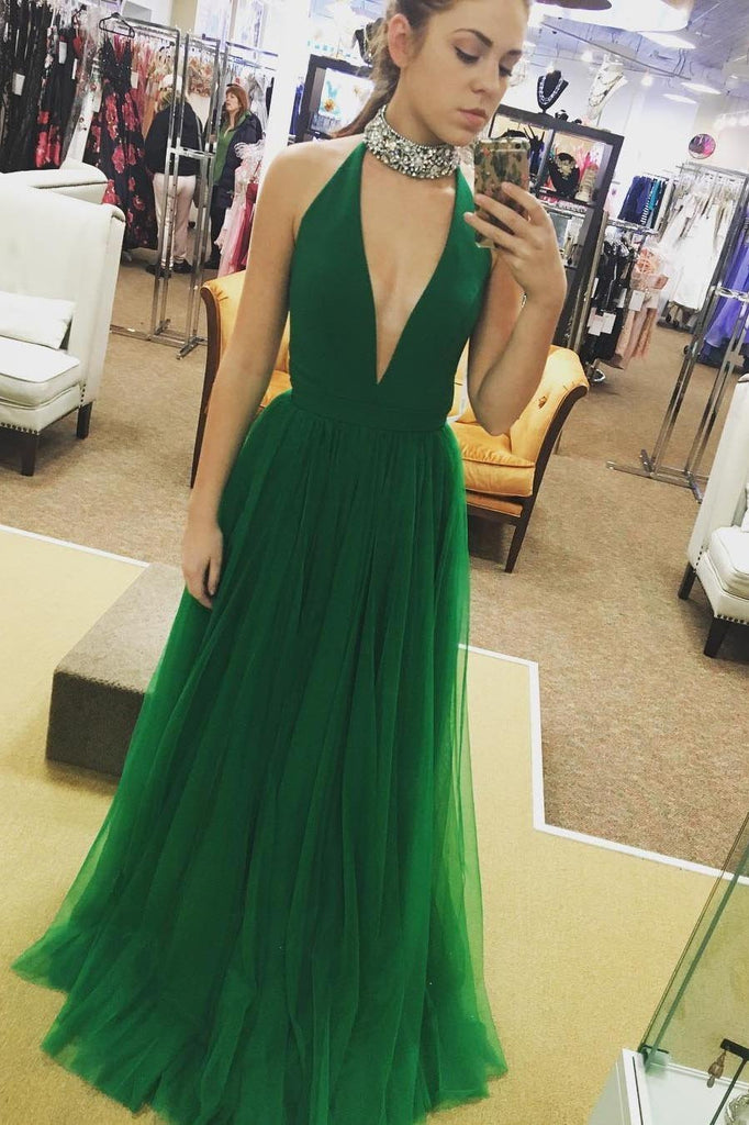 Hot Sexy Sleeveless A-Line Deep V-Neck Green Floor-Length Tulle Long Prom Dresses