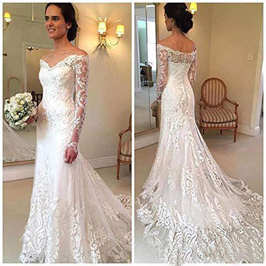 Off the Shoulder Lace Long Sleeve Mermaid V Neck Covered Button Wedding Dresses