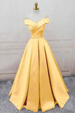Simple Yellow Off the Shoulder Prom Dresses Lace up Sweetheart Satin Party Dresses