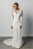 Sheath A Line Long Sleeves Ivory Rustic Lace Backless Scoop Neck Beach Wedding Dresses