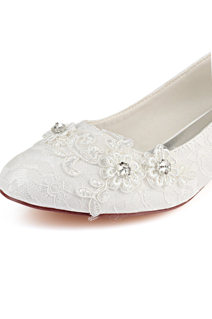 Lace White Lower Heel Evening Shoes Wedding Shoes