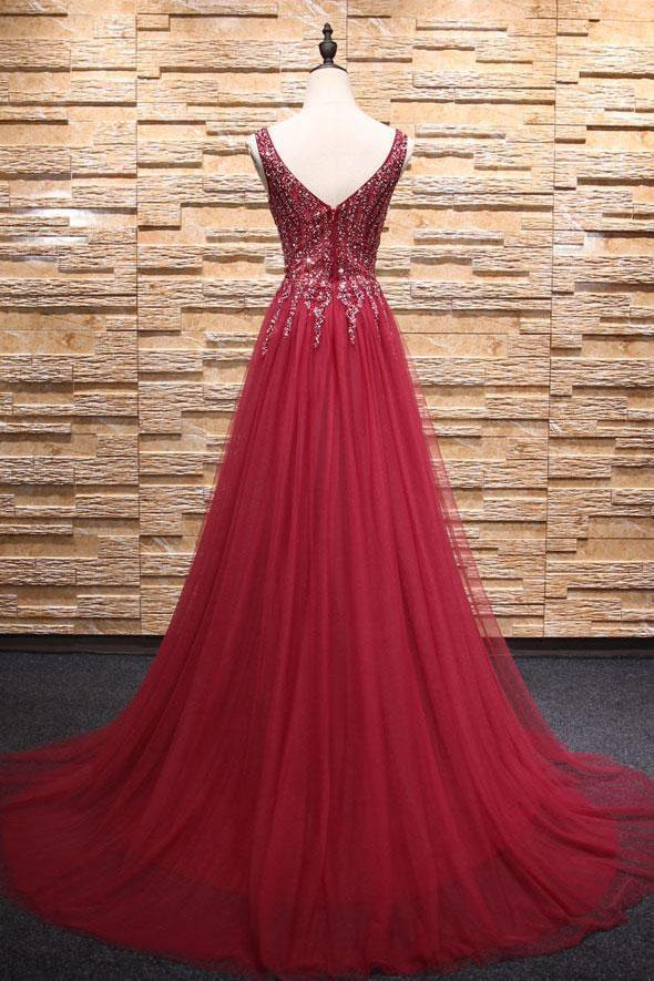 Simple A-Line Burgundy V-Neck Beads Tulle Long Sleeveless Slit Backless Prom Dresses
