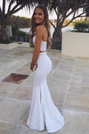 Sexy Two Piece Sweetheart Strapless Long White Satin Slit Mermaid Prom Dresses