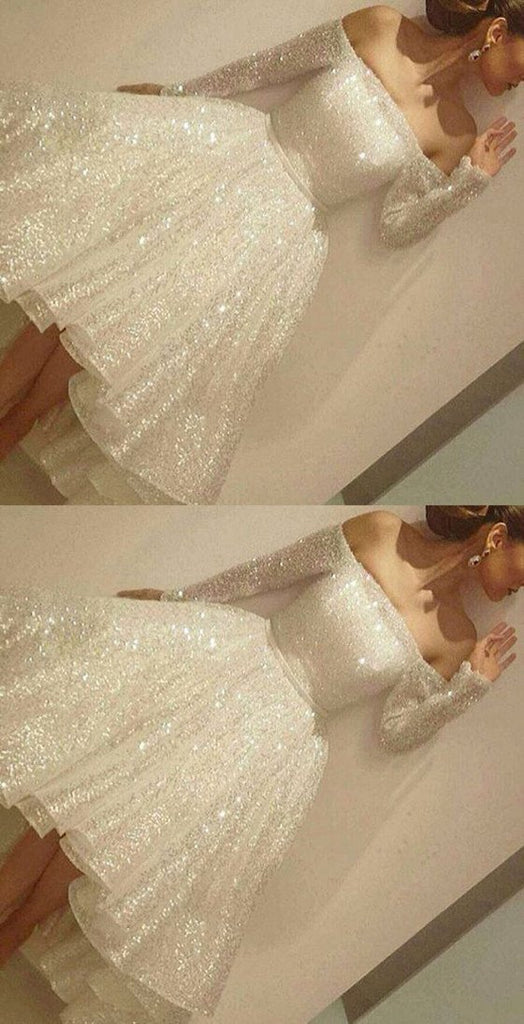 Noble Sparkle White Sequined Lace Prom Dress Sexy Off The Shoulder Long Sleeves Party Dress