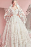 Sweetheart Ball Gown Sleeveless White Tulle Appliques Sweep Train Wedding Dresses