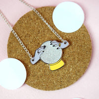 Glitter Crystal Ball Necklace - Funky Cat Emporium