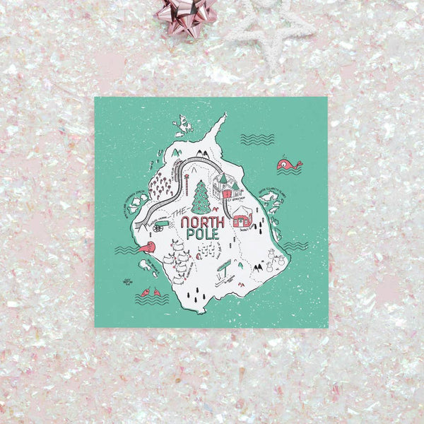 north pole christmas card - Funky Cat Emporium