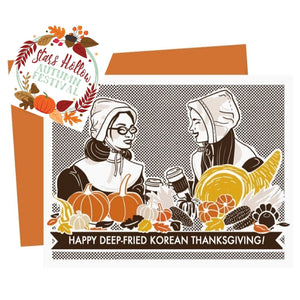 Happy Deep-Fried Korean Thanksgiving Card & Sticker - Funky Cat Emporium