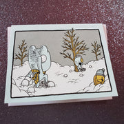 Snowball Fight Holiday Card - Funky Cat Emporium