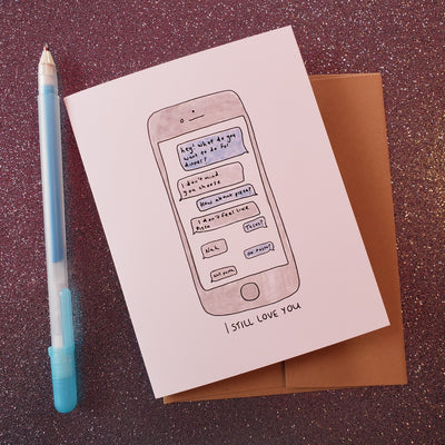 Card with a cellphone showing a text conversation between lovers, saying