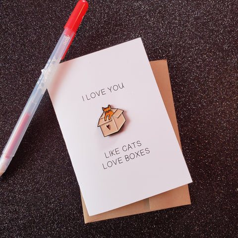 cat + box = love enamel pin & card - Funky Cat Emporium