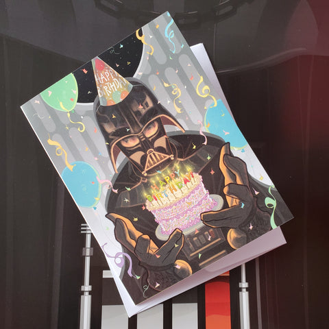 vader birthday cake card - Funky Cat Emporium