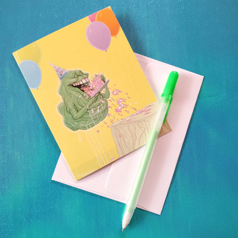 birthday cake slimer card - Funky Cat Emporium