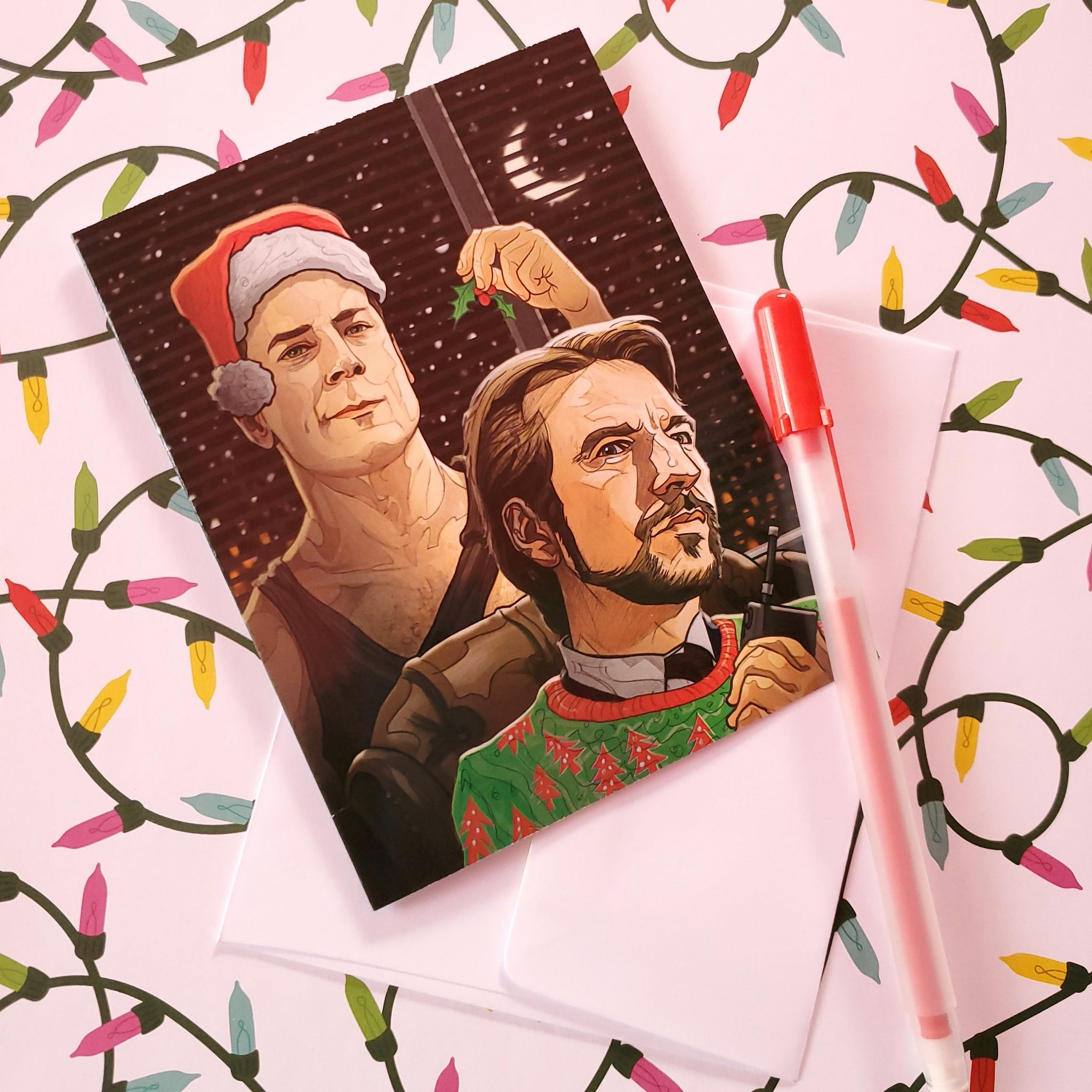 hans and mcclane christmas card - Funky Cat Emporium