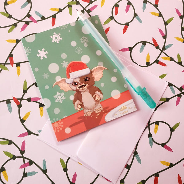 a merry gremlin christmas card - Funky Cat Emporium