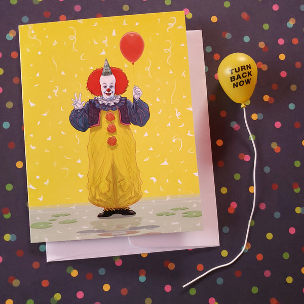 pennywise the birthday clown card - Funky Cat Emporium