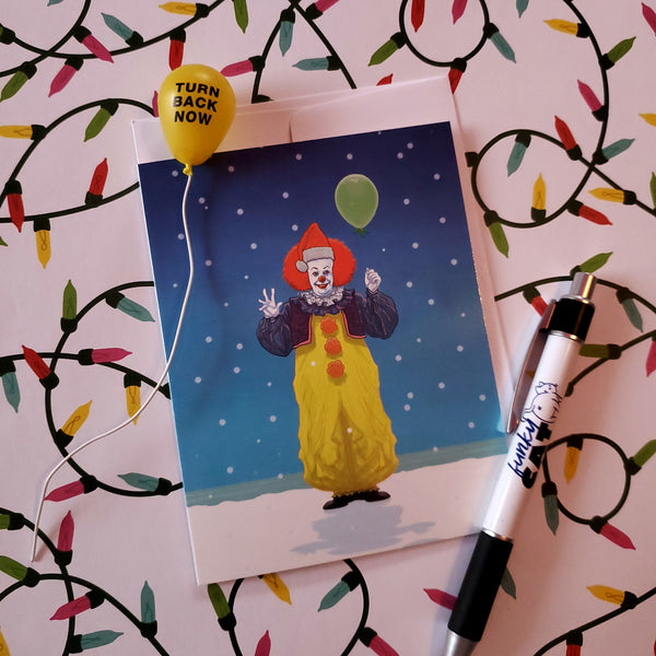 pennywise the christmas clown card - Funky Cat Emporium