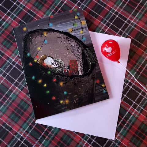 pennywise the festive clown christmas card - Funky Cat Emporium