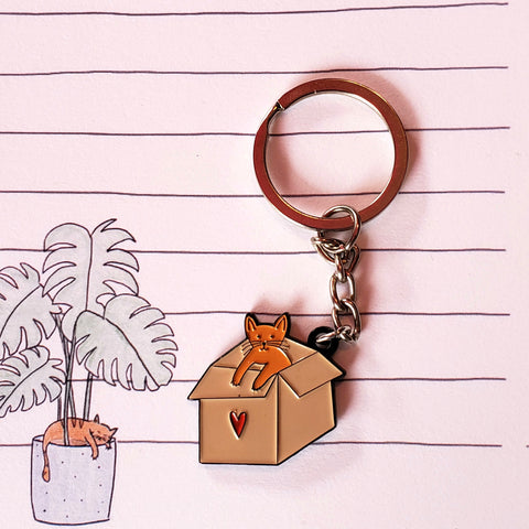 cat box key chain - Funky Cat Emporium