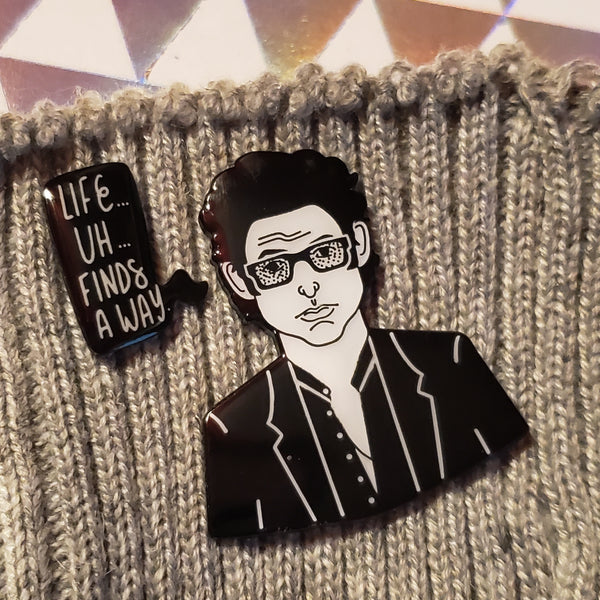dr ian malcolm quotes enamel pin set - Funky Cat Emporium