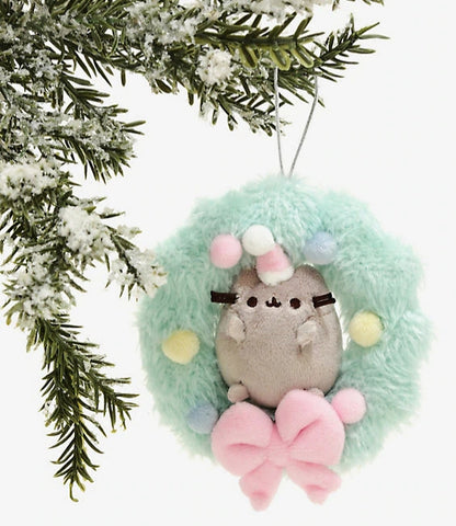 pusheen plush holiday wreath ornament