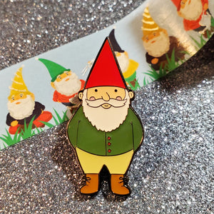 happy garden gnome enamel pin