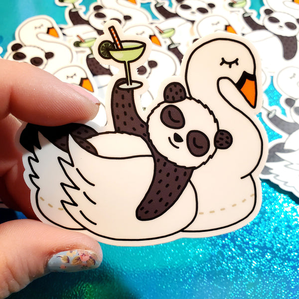panda pool party vinyl sticker