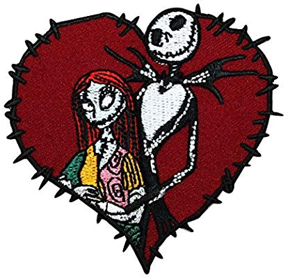 nightmare before christmas jack & sally love stitch heart patch
