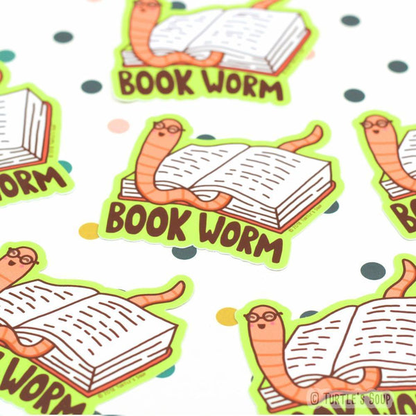 book worm vinyl sticker - Funky Cat Emporium