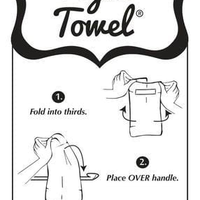 Directions on how to hang the Hang Tight Towel with illustration of the three steps involved. It states, 1. Fold into thirds. 2. Place OVER handle. 3. Pull towel thru loop to desired length & tighten.