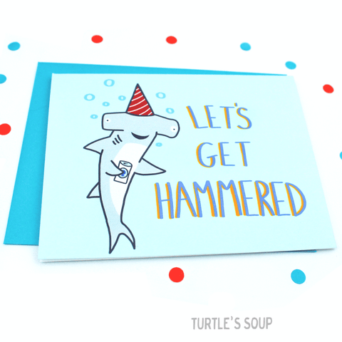 get hammered shark birthday card - Funky Cat Emporium