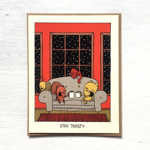stay toasty holiday card - Funky Cat Emporium