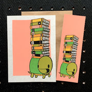 Turtle and Books Bookmark Card - Funky Cat Emporium
