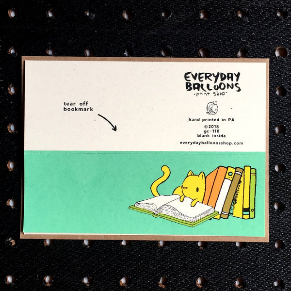 cat and books bookmark card - Funky Cat Emporium