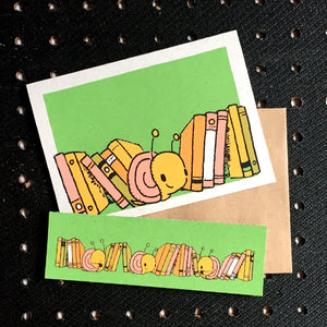 snails and books bookmark card - Funky Cat Emporium