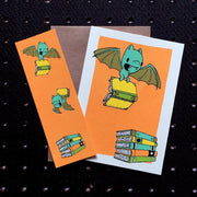 Bats and Books Bookmark Card - Funky Cat Emporium