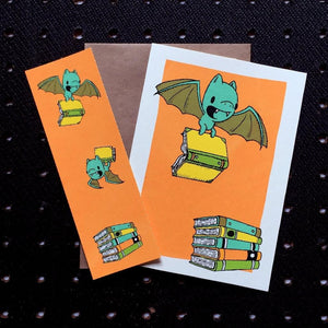 bats & books bookmark card - Funky Cat Emporium